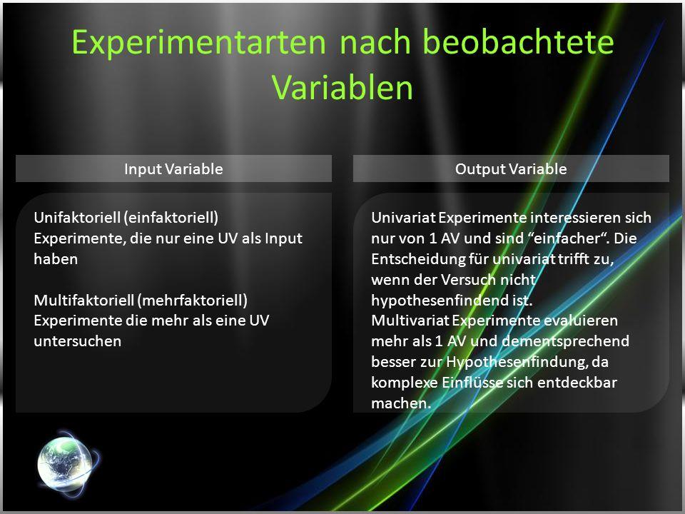 Experimentarten nach beobachtete Variablen