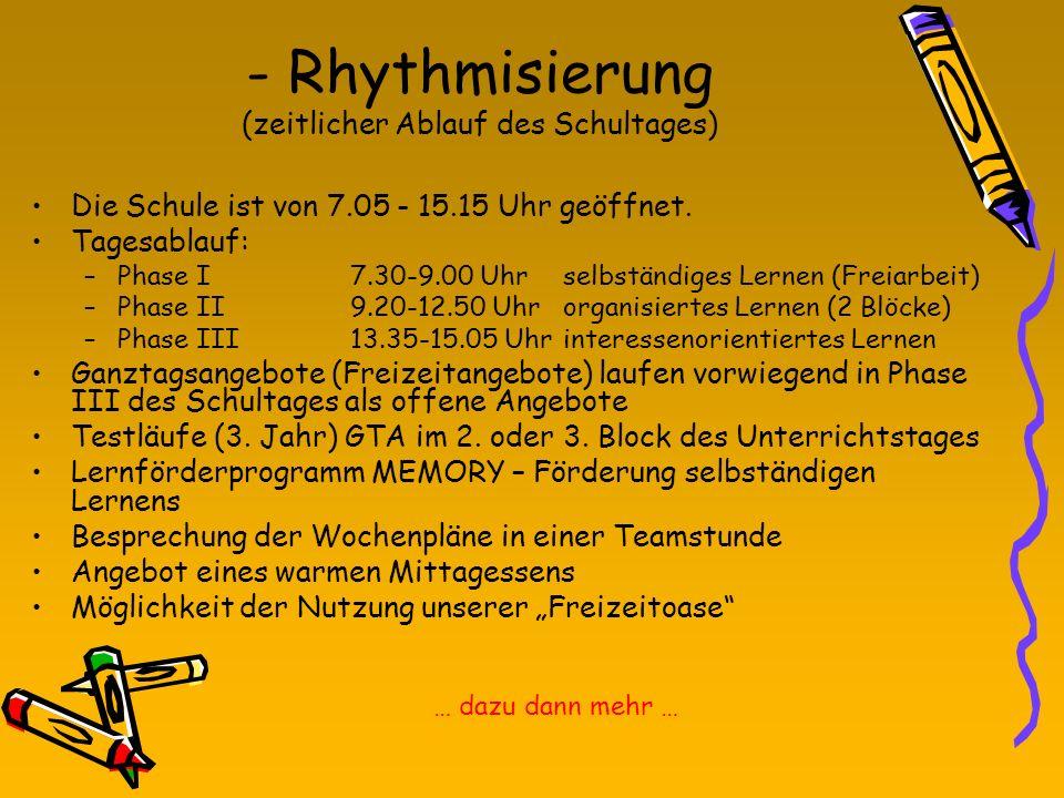 - Rhythmisierung (zeitlicher Ablauf des Schultages)