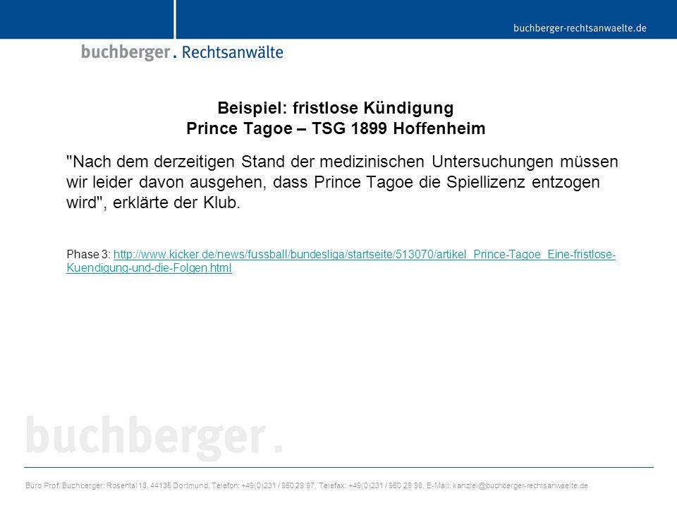 Beispiel: fristlose Kündigung Prince Tagoe – TSG 1899 Hoffenheim