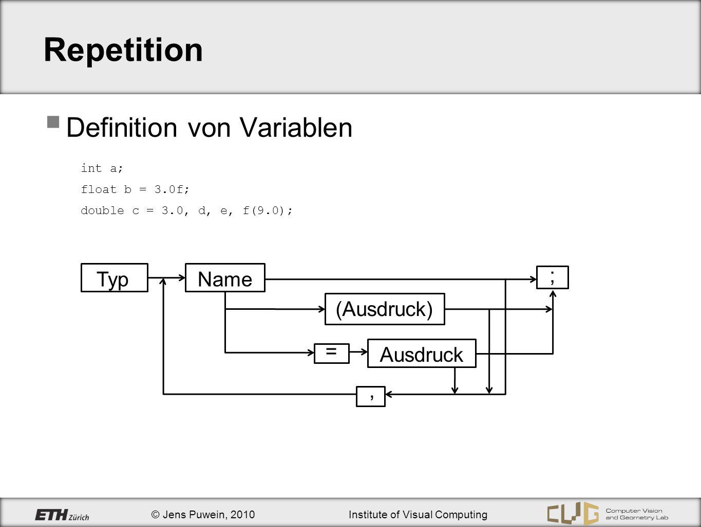 Repetition Definition von Variablen Typ Name Ausdruck = ; , (Ausdruck)