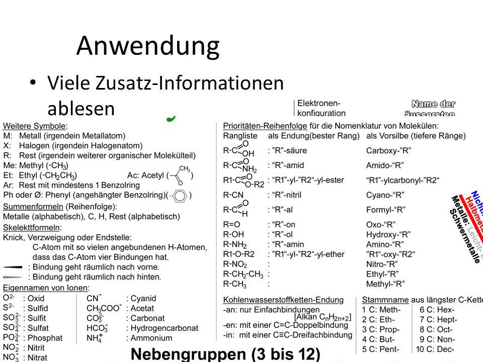 Anwendung Viele Zusatz-Informationen ablesen