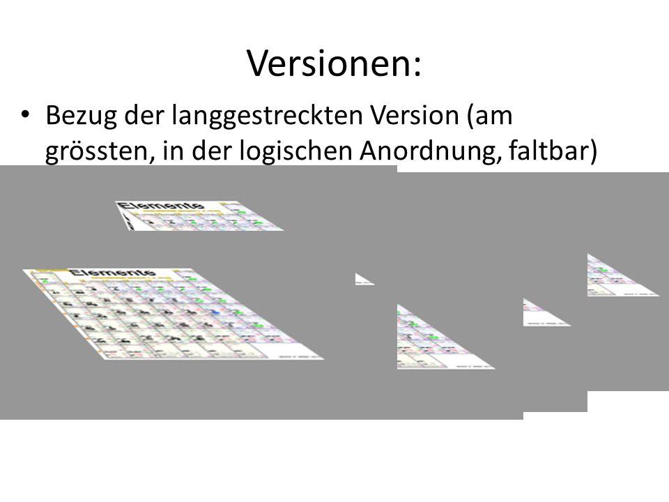 Versionen: Bezug der langgestreckten Version (am grössten, in der logischen Anordnung, faltbar) .