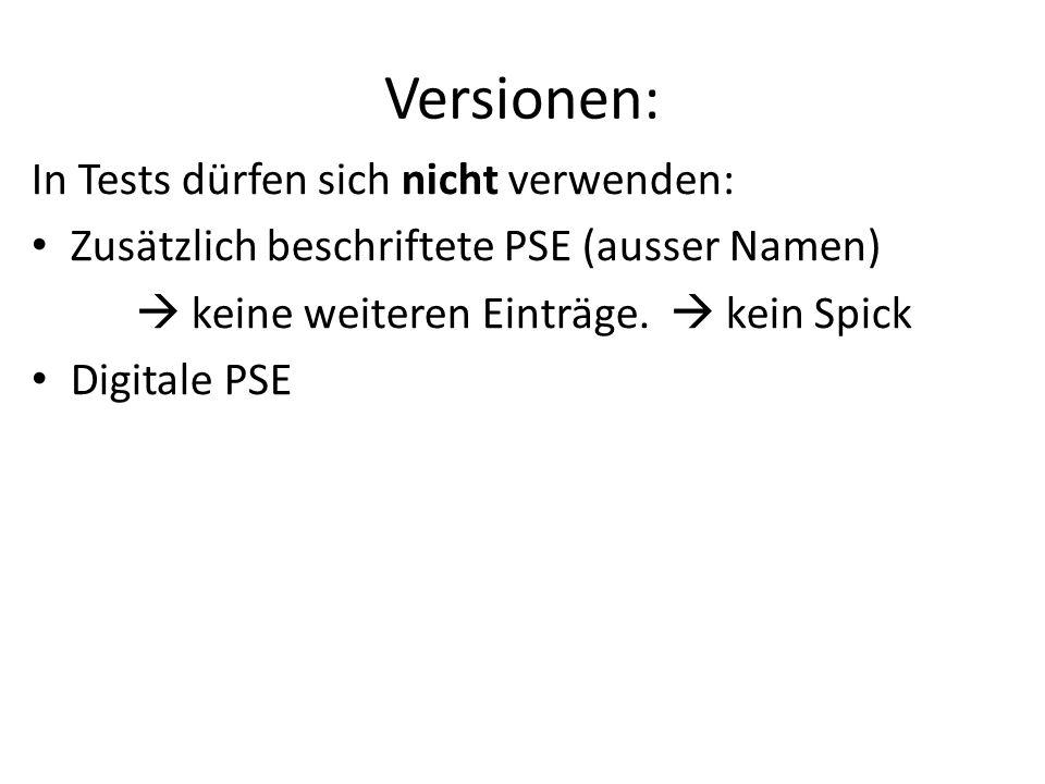Versionen: In Tests dürfen sich nicht verwenden: