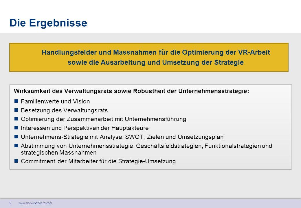 Die Ergebnisse Handlungsfelder und Massnahmen für die Optimierung der VR-Arbeit. sowie die Ausarbeitung und Umsetzung der Strategie.
