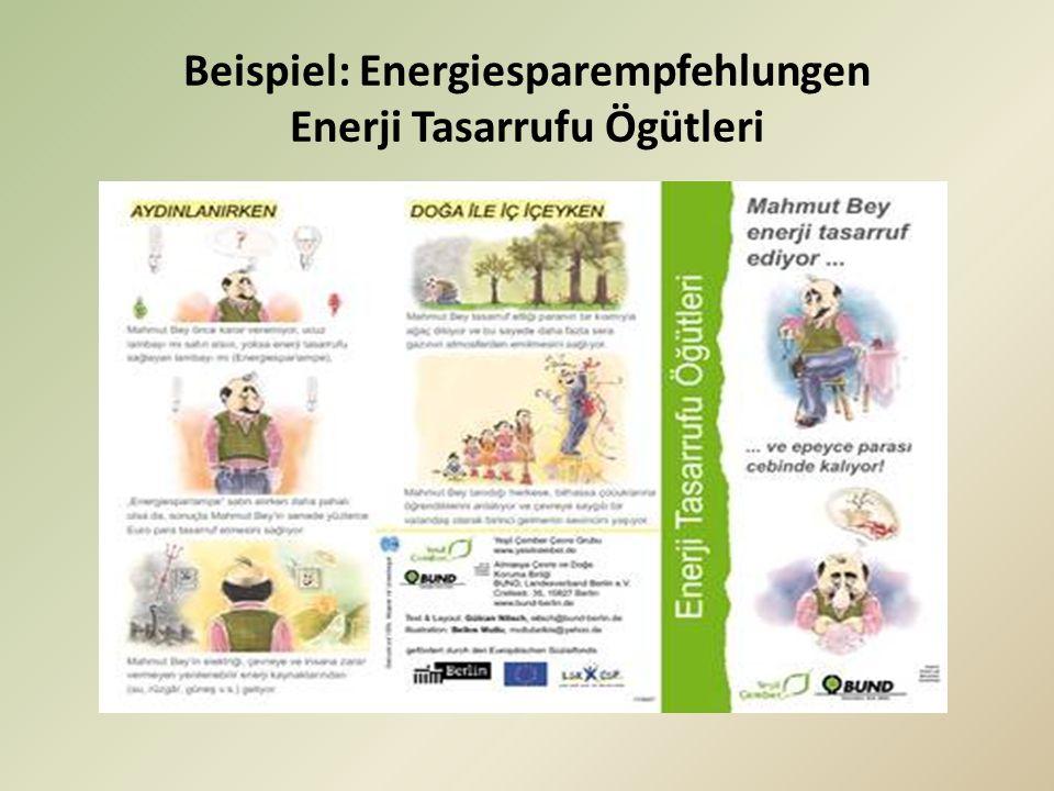 Beispiel: Energiesparempfehlungen Enerji Tasarrufu Ögütleri
