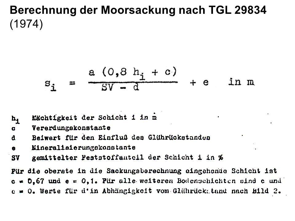 Berechnung der Moorsackung nach TGL 29834