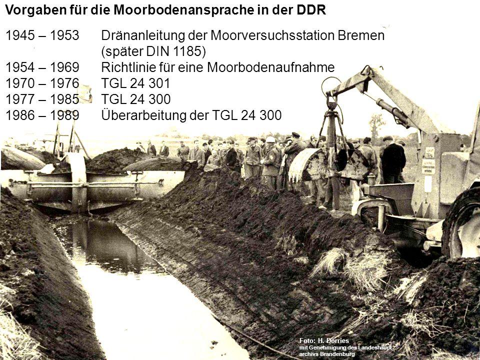 Vorgaben für die Moorbodenansprache in der DDR