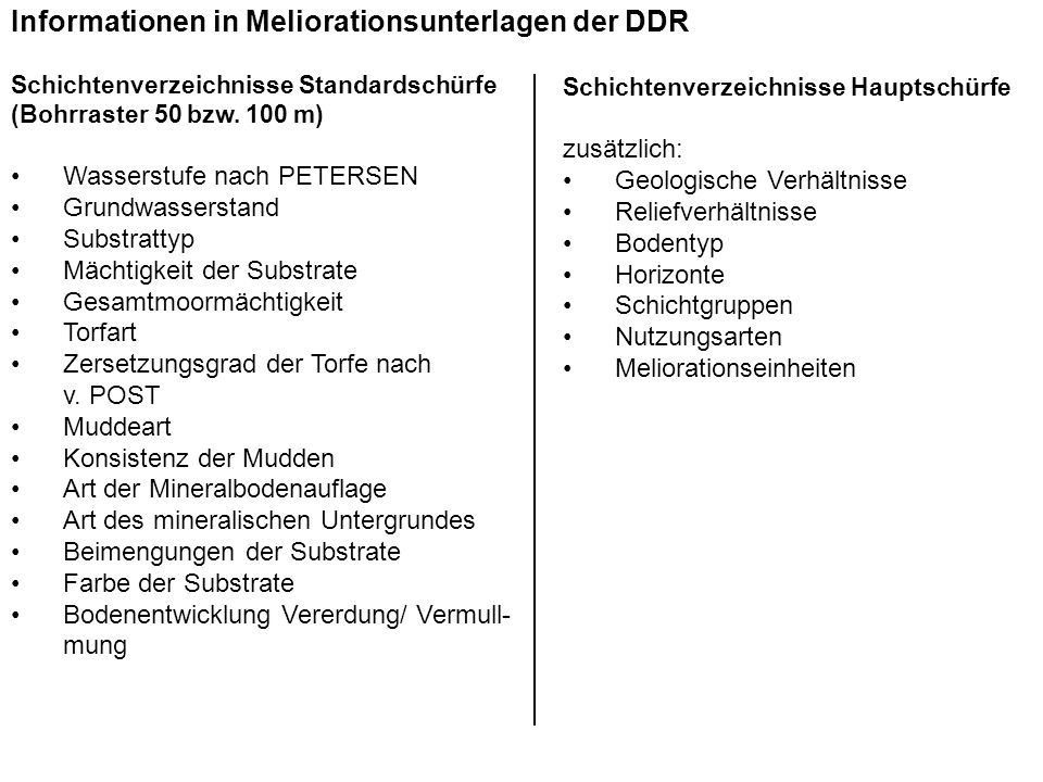 Informationen in Meliorationsunterlagen der DDR