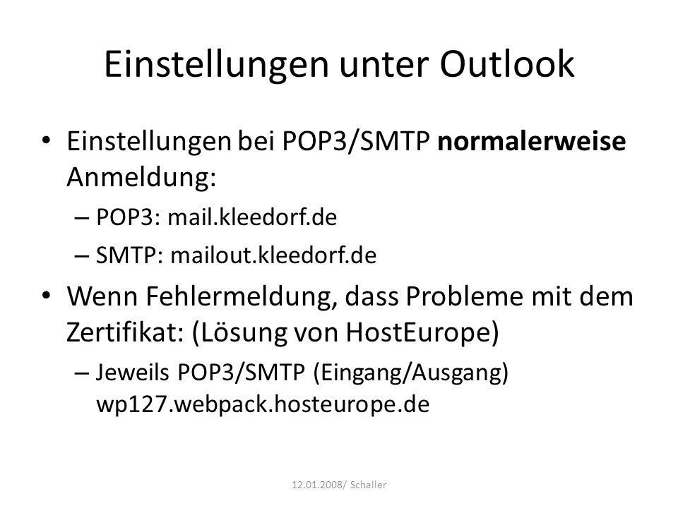 Einstellungen unter Outlook