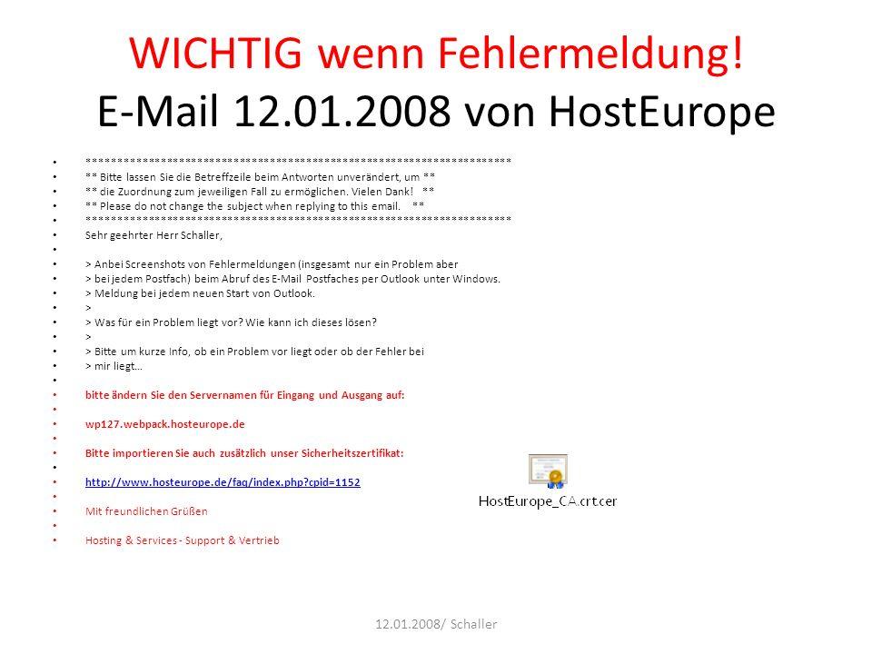WICHTIG wenn Fehlermeldung! E-Mail 12.01.2008 von HostEurope