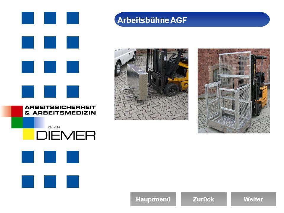Arbeitsbühne AGF Arbeitssicherheit Hauptmenü Zurück Weiter