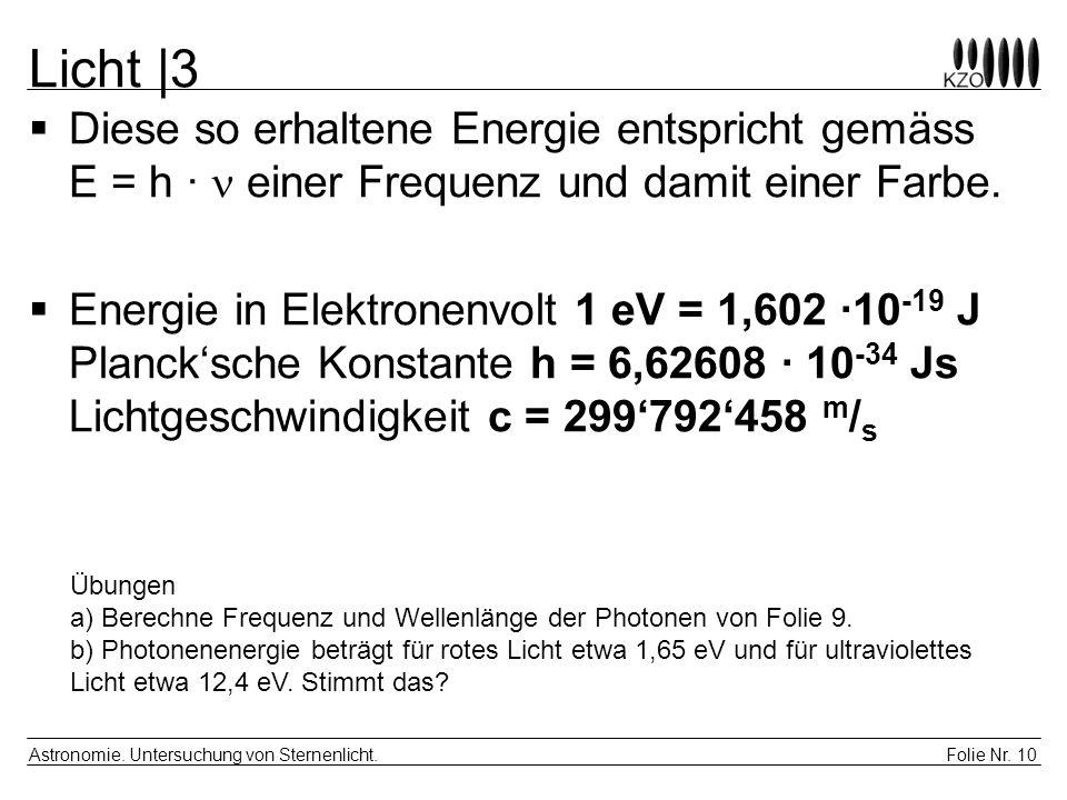 Licht |3 Diese so erhaltene Energie entspricht gemäss E = h ·  einer Frequenz und damit einer Farbe.