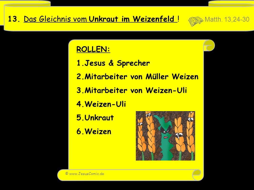 13. Das Gleichnis vom Unkraut im Weizenfeld ! Matth. 13,24-30
