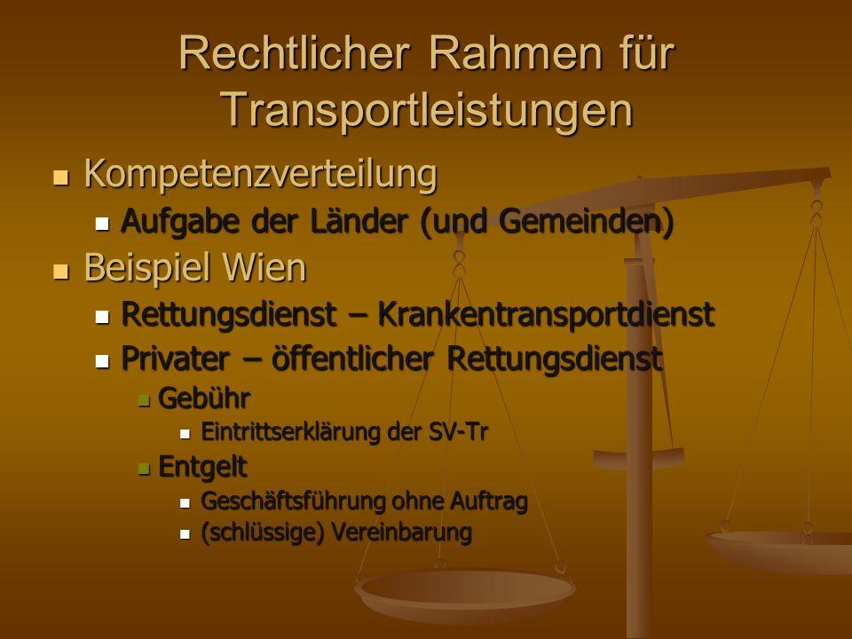 Rechtlicher Rahmen für Transportleistungen