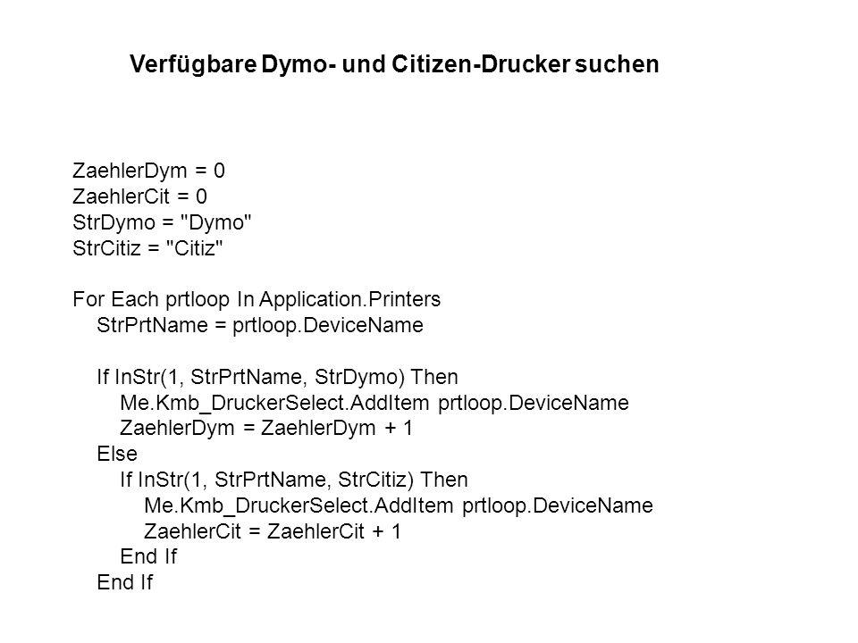Verfügbare Dymo- und Citizen-Drucker suchen