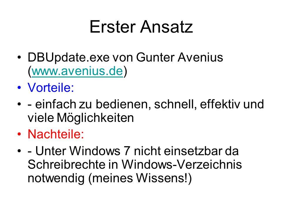 Erster Ansatz DBUpdate.exe von Gunter Avenius (www.avenius.de)