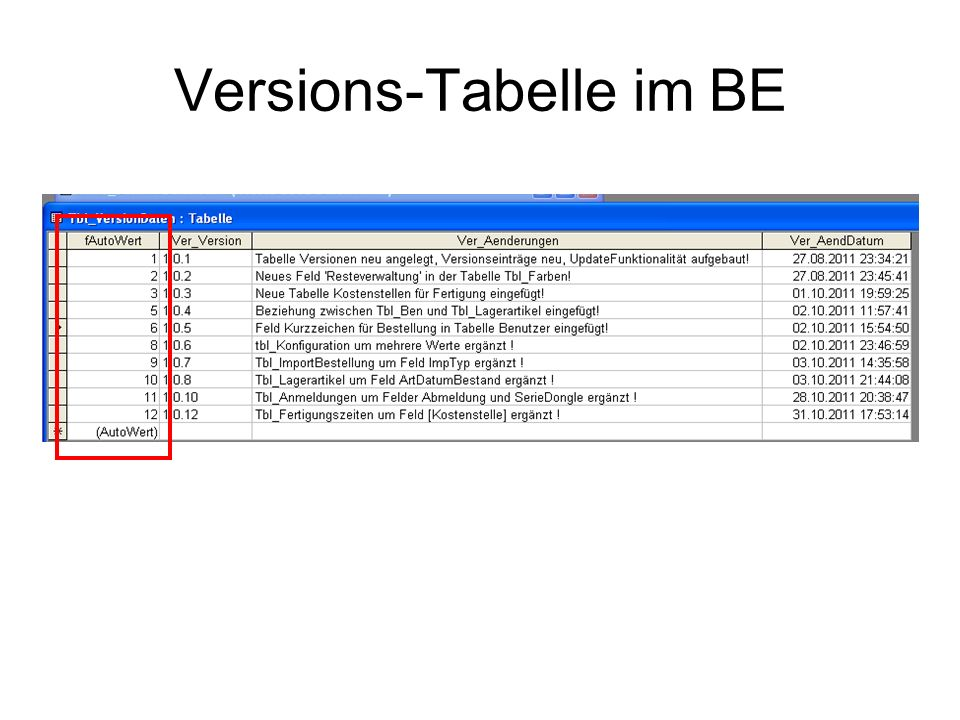 Versions-Tabelle im BE