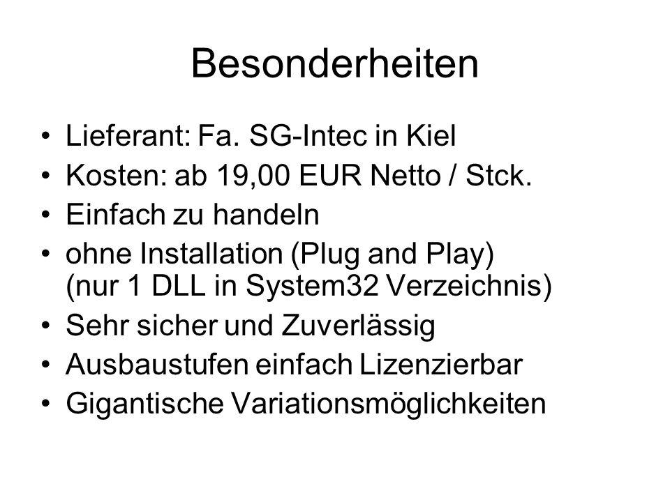 Besonderheiten Lieferant: Fa. SG-Intec in Kiel