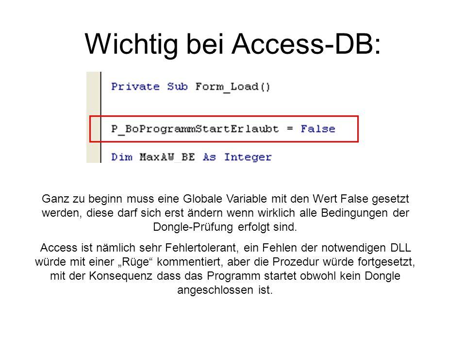 Wichtig bei Access-DB: