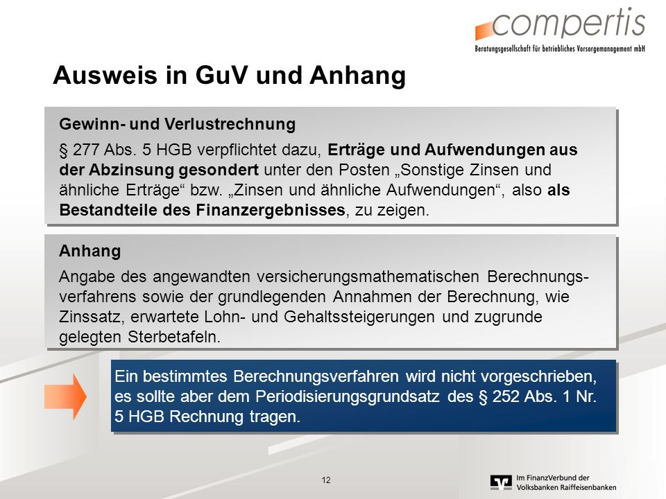 Ausweis in GuV und Anhang