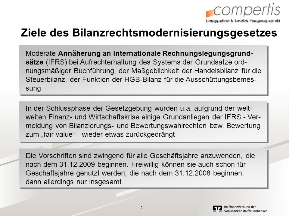 Ziele des Bilanzrechtsmodernisierungsgesetzes
