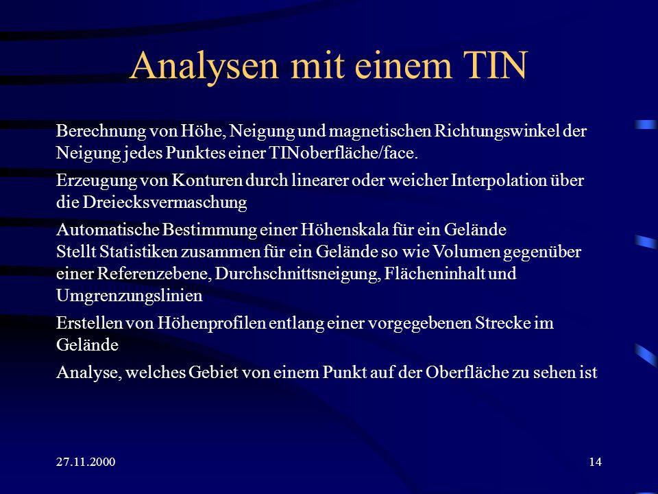 Analysen mit einem TINBerechnung von Höhe, Neigung und magnetischen Richtungswinkel der Neigung jedes Punktes einer TINoberfläche/face.