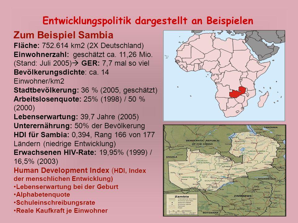 Entwicklungspolitik dargestellt an Beispielen