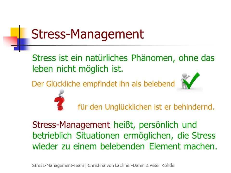 Stress-Management Stress ist ein natürliches Phänomen, ohne das leben nicht möglich ist. Der Glückliche empfindet ihn als belebend.