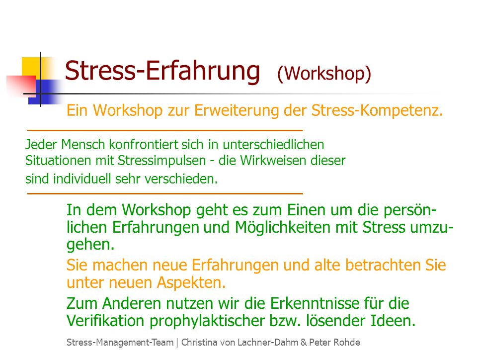 Stress-Erfahrung (Workshop)