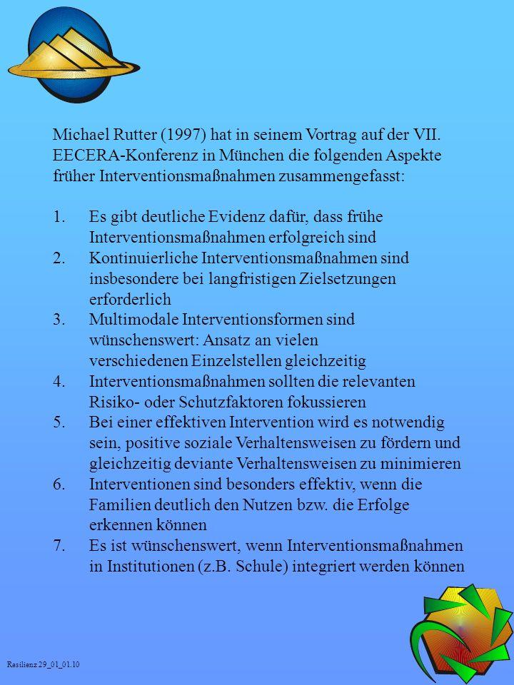 Michael Rutter (1997) hat in seinem Vortrag auf der VII