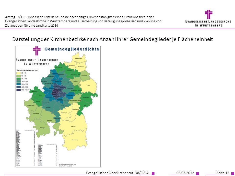Darstellung der Kirchenbezirke nach Anzahl ihrer Gemeindeglieder je Flächeneinheit