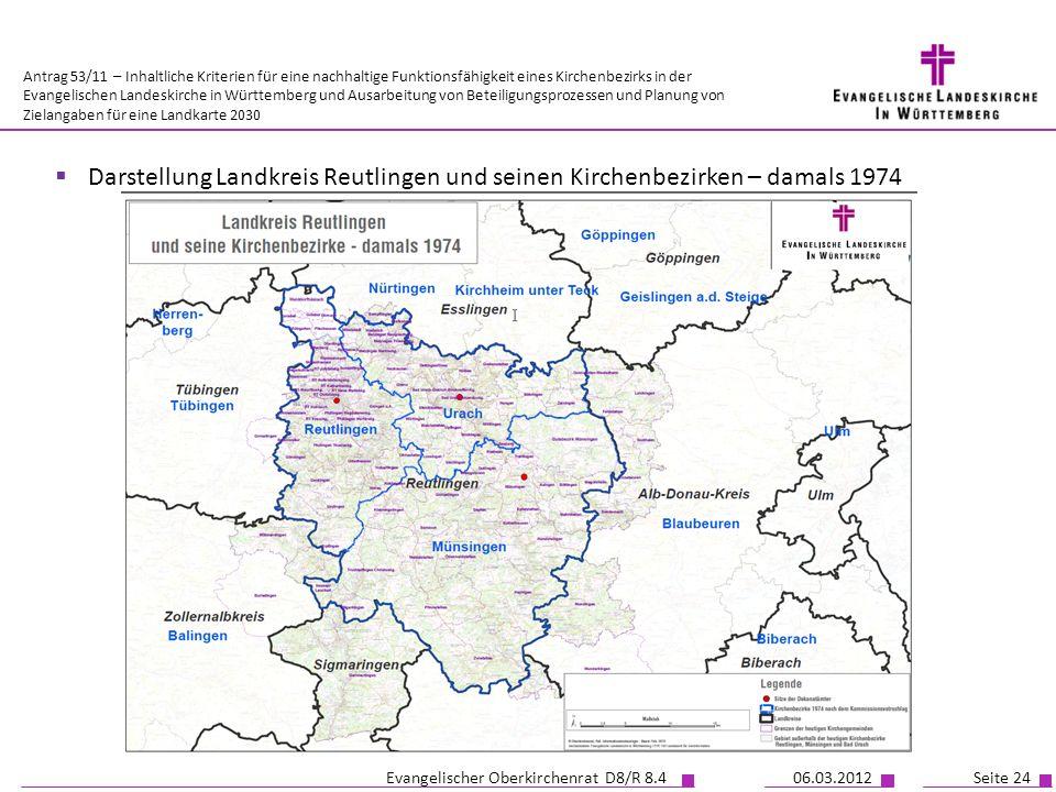 Darstellung Landkreis Reutlingen und seinen Kirchenbezirken – damals 1974
