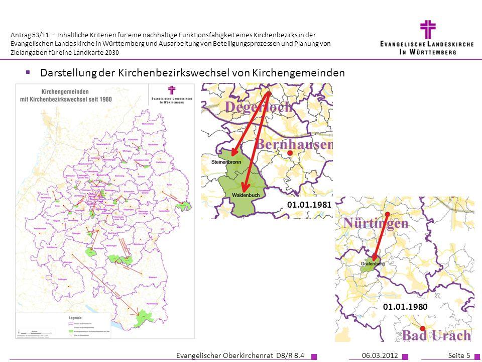 Darstellung der Kirchenbezirkswechsel von Kirchengemeinden