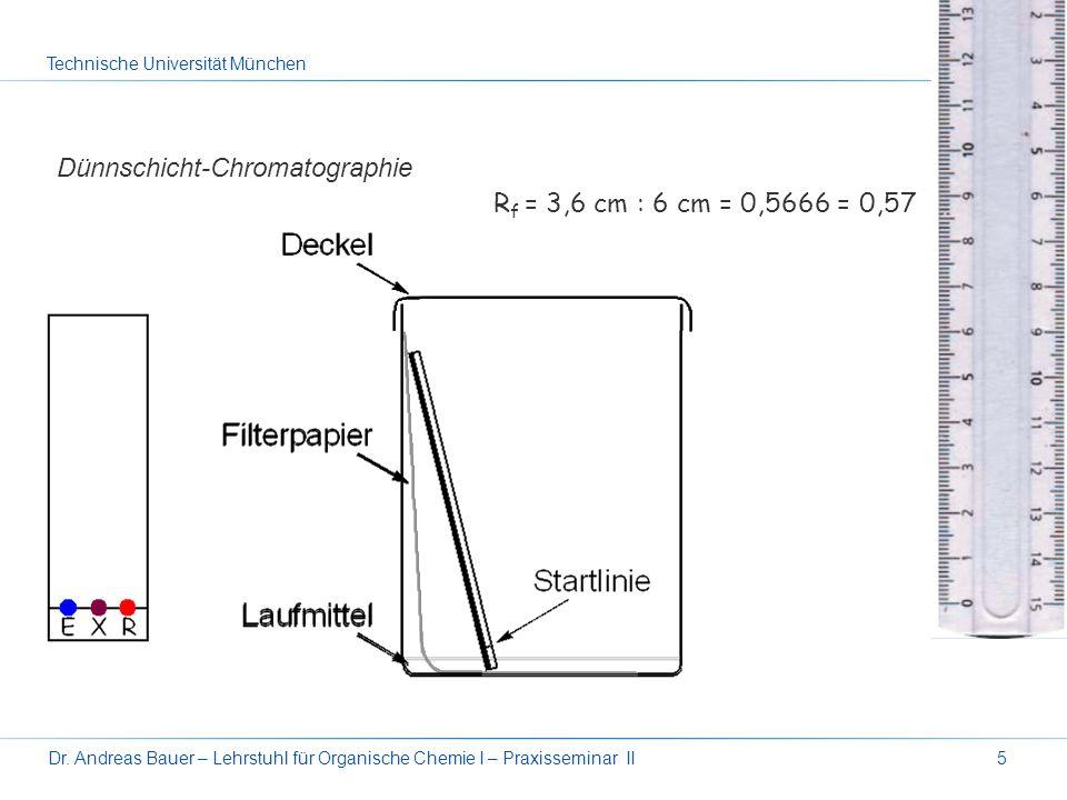 Dünnschicht-Chromatographie Rf = 3,6 cm : 6 cm = 0,5666 = 0,57