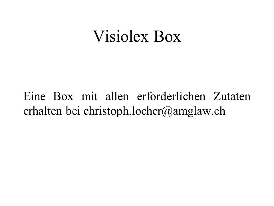 Visiolex Box Eine Box mit allen erforderlichen Zutaten erhalten bei christoph.locher@amglaw.ch
