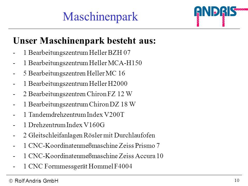 Maschinenpark Unser Maschinenpark besteht aus: