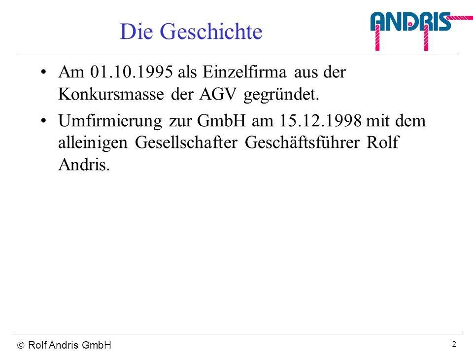 Die Geschichte Am 01.10.1995 als Einzelfirma aus der Konkursmasse der AGV gegründet.