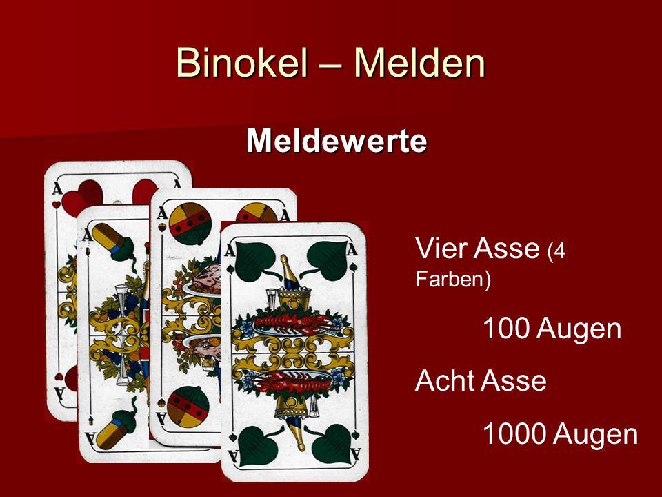 Binokel – Melden Meldewerte Vier Asse (4 Farben) 100 Augen Acht Asse