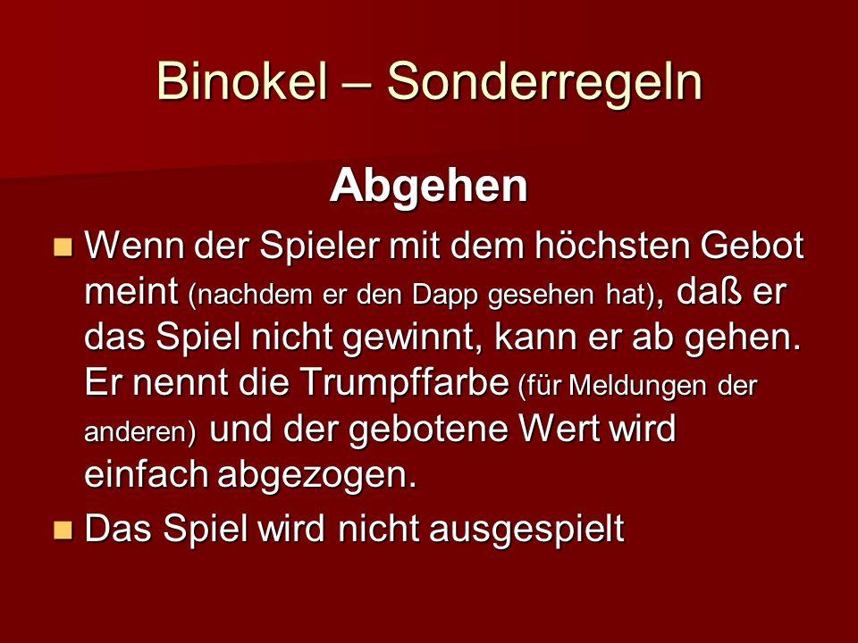 Binokel – Sonderregeln