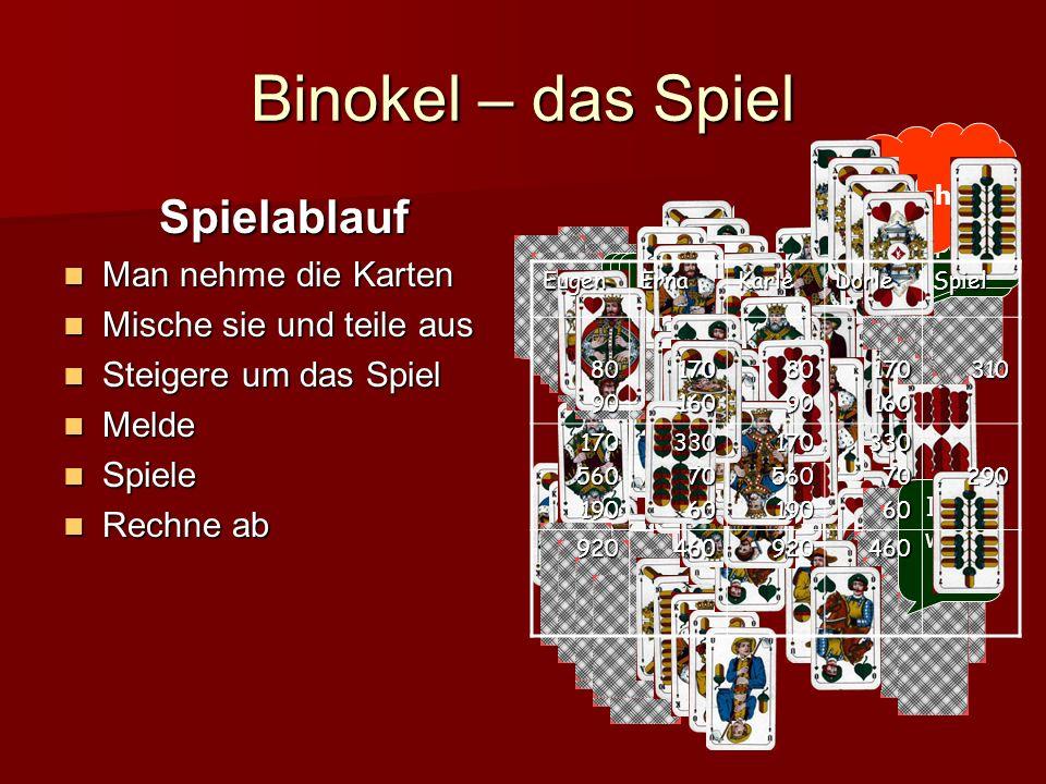 Binokel – das Spiel Spielablauf Man nehme die Karten