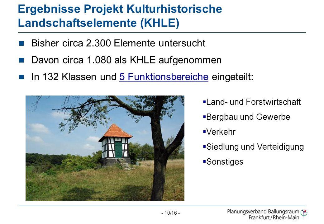 Ergebnisse Projekt Kulturhistorische Landschaftselemente (KHLE)