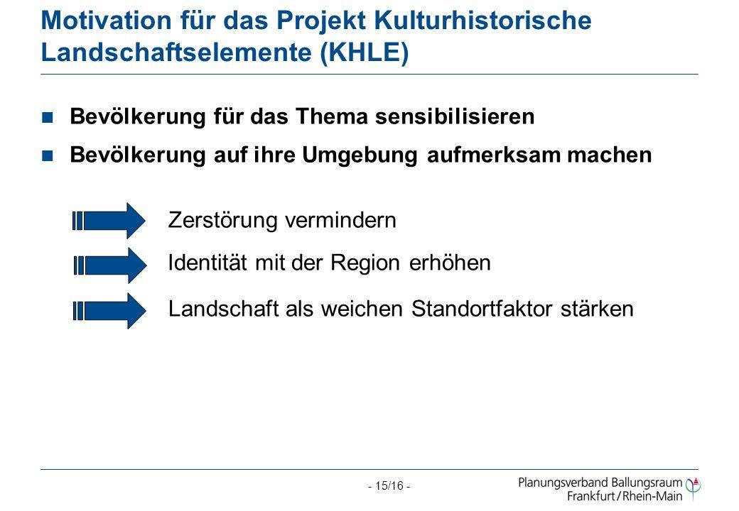Motivation für das Projekt Kulturhistorische Landschaftselemente (KHLE)