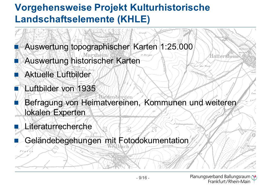 Vorgehensweise Projekt Kulturhistorische Landschaftselemente (KHLE)