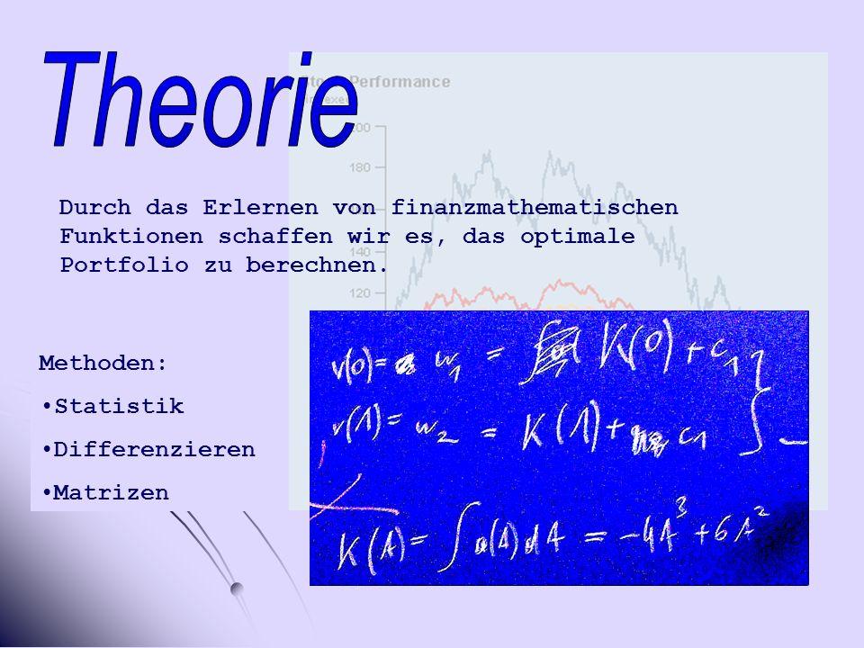 Theorie Durch das Erlernen von finanzmathematischen Funktionen schaffen wir es, das optimale Portfolio zu berechnen.