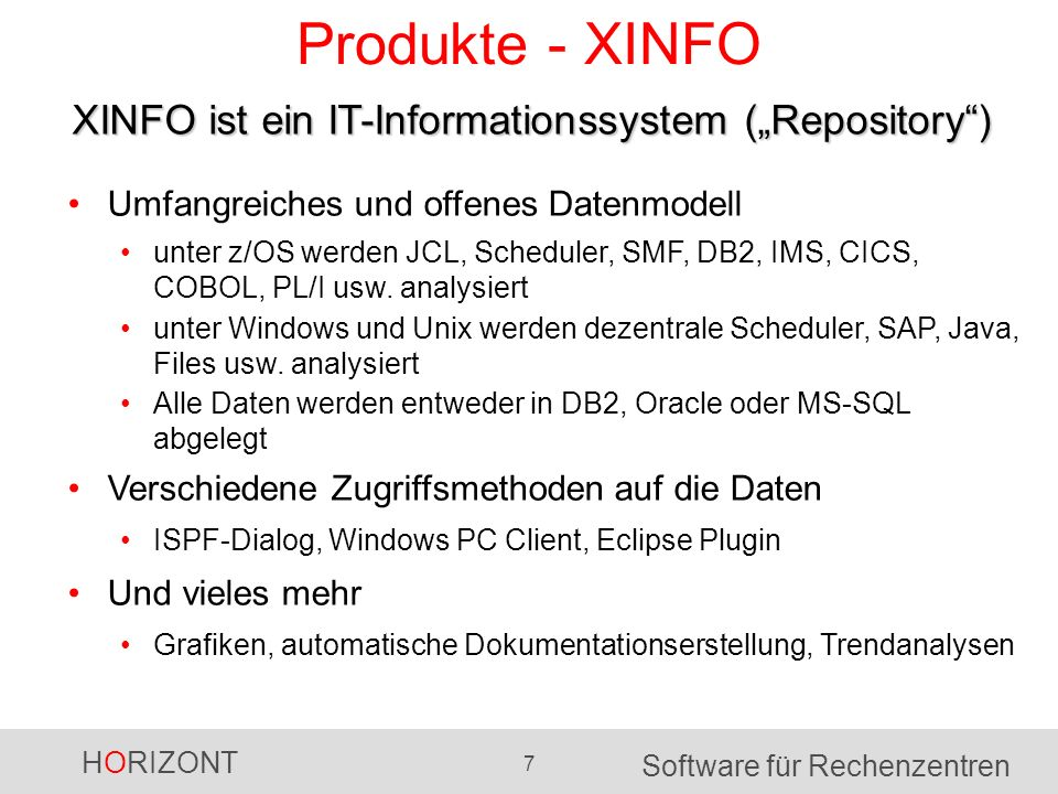 "Produkte - XINFO XINFO ist ein IT-Informationssystem (""Repository )"