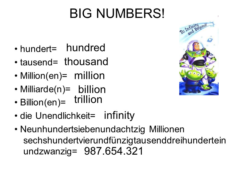 BIG NUMBERS! hundred thousand million billion trillion infinity