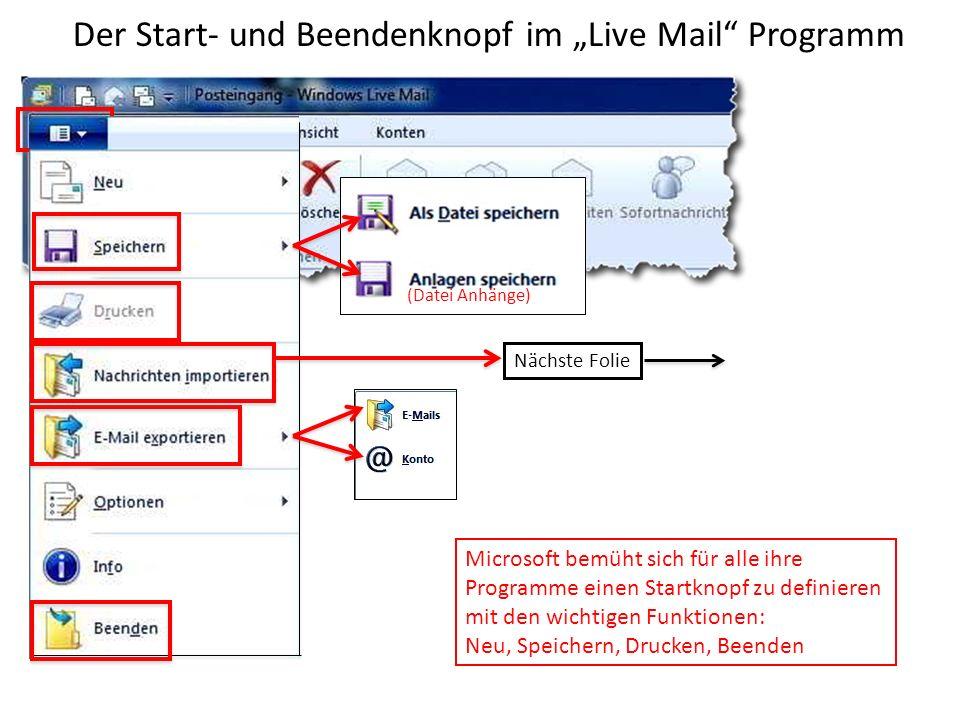 """Der Start- und Beendenknopf im """"Live Mail Programm"""