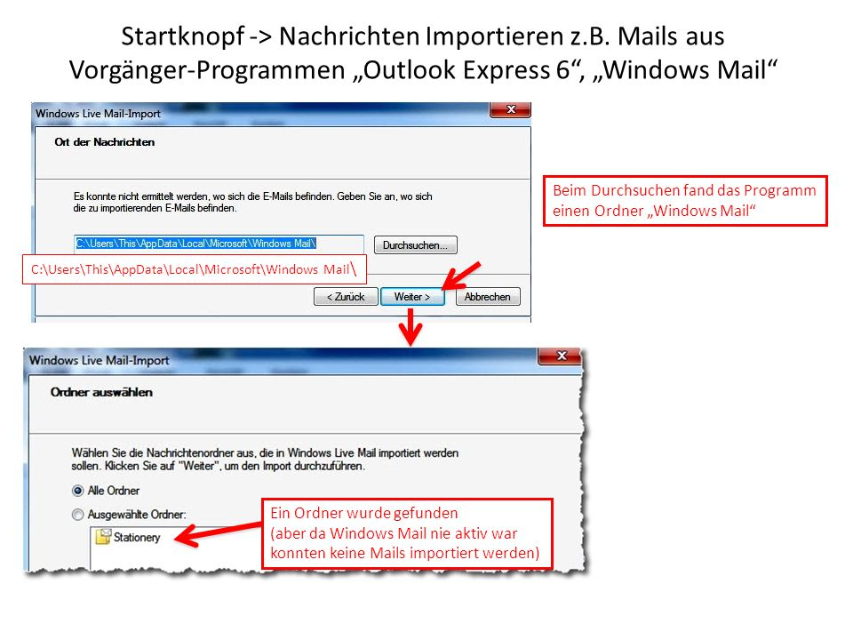 Startknopf -> Nachrichten Importieren z. B