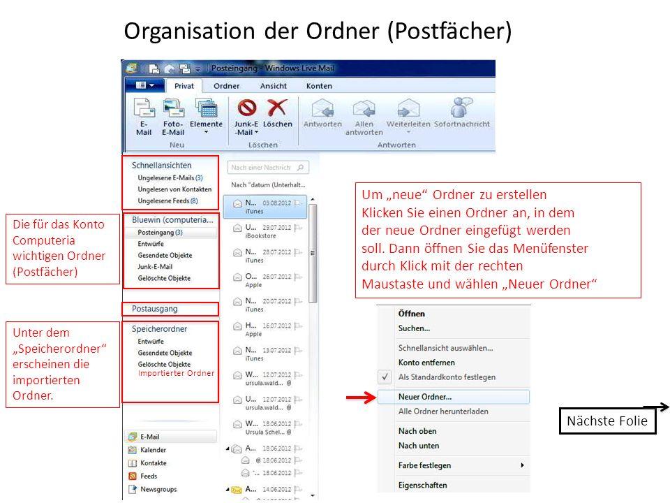 Organisation der Ordner (Postfächer)