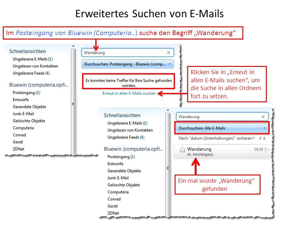 Erweitertes Suchen von E-Mails